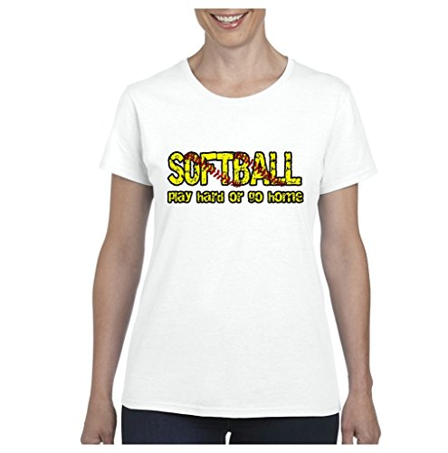 ARTIX A+ Softball Play Hard or Go Home Womens T-Shirt Tee Large White