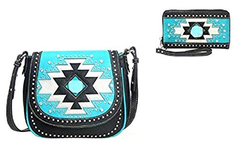 Turquoise Nugget Set - Montana West Aztec Turquoise Nugget Hippy Messenger Bag Purse Wallet Set Black
