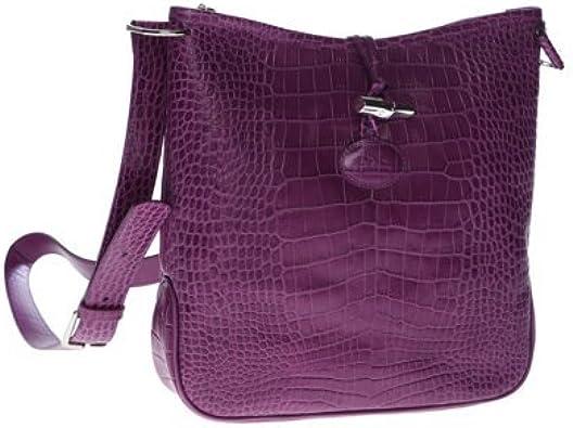 Longchamp Roseau Croc Shoulder/Cross Body Bag in Deep Purple ...