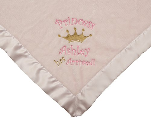 Personalized Custom Monogrammed PRINCESS HAS ARRIVED! Birth Announcement Pink Baby Blanket (Announcements Princess Birth)