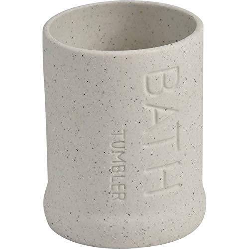 EVIDECO 6175104 Counter Top Stoneware Water Tumbler Bath Kitchen Sand Stone Effect Ecru, 3 L x 3 W x 4 H, Beige from EVIDECO