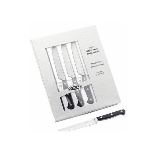 Stellar IS40 Steak Knives, Silver, Set of 6 Cutlery & Knives