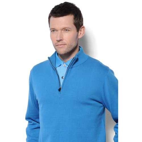 Monterey Club Mens Half Zip Long Sleeve Fine Gauge Sweater #1947 (Peacock Blue, Large)