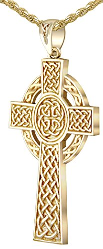 US Jewels And Gems Men's 1.75in Heavy Solid Back 14k Yellow Gold Irish Celtic Knot Cross Pendant 2.0mm Rope Necklace, 24