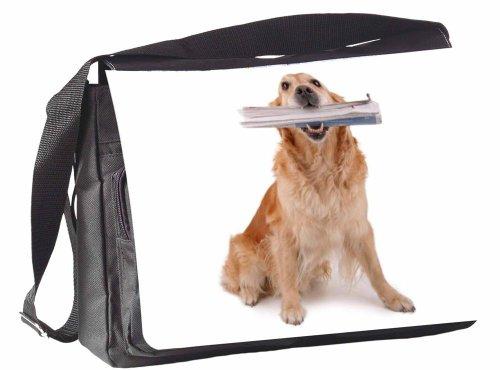 KlebeSpatz® / Motiv Schultertasche Mailand Hund + Zeitung