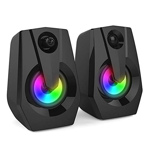SHANSHIRF Computer Speakers Wired USB Computer Bass LED Colorful Multimedia Speakers For PC Desktop Laptop Smartphone…