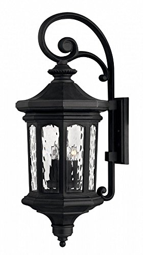 Hinkley 1605MB-LL Raley – 31.5″ 20W 4 LED Outdoor Large Wall Mount, Museum Black Finish with Clear Water Glass For Sale