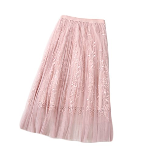 Women Summer Floral Embroidery A Line Lace Tulle Tutu Mesh Skirt Pleated Skirt Midi Skirt (Free, Pink)