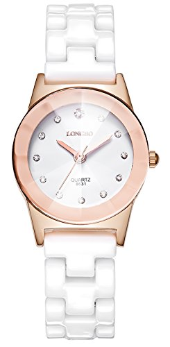Simple Fashion Rose Gold Color Waterproof Women Wrist Watch with Crystal Dial, Classic Casual Quartz Analog...