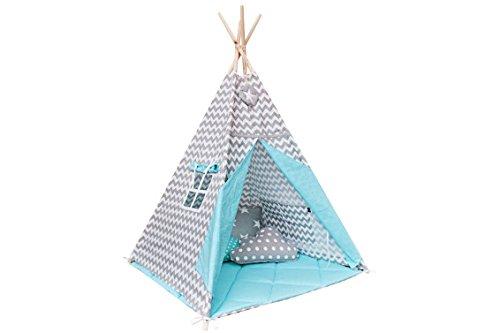 Tipi Set mit Bodenmatte und Kissen - Magic Turquoise