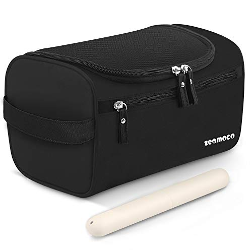 Zeamoco Travel Toiletry Bag Portable Dopp Kit with Toothbrush Case for Men Women Bathroom Shower Gym Shaving (Waterproof Oxford, Black)