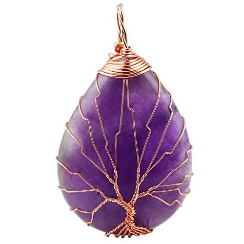 SUNYIK Purple Amethyst Teardrop Tree of Life Pendant Necklace,Handmade Copper Wire Wrapped Jewelry