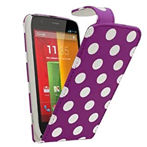 Quaroth SAMRICK - Motorola Moto G - Polka Dots Specially Designed Leather Flip Case & Screen Protector/Foil/Film/...