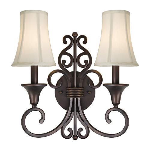 Indoor Wall Sconce Forte Lighting - Forte Lighting 2327-02-32 Signature 2 Light 14 inch Antique Bronze Wall Sconce Wall Light