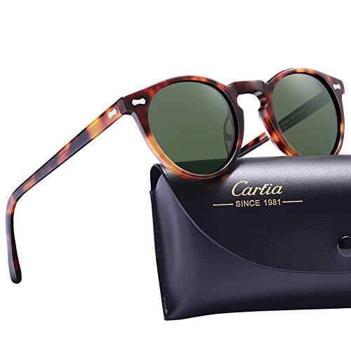 (Carfia Vintage Polarized Sunglasses for Women UV400 Protection Lens Acetate Frame (Tortoise Frame Light Green Lens, 46MM Lens Width))