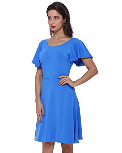 GAMISS Women's Casual Swing Dress Round Neck Butterfly Sleeve A Line Cocktail Party Dress Stretchy-Blue-Small