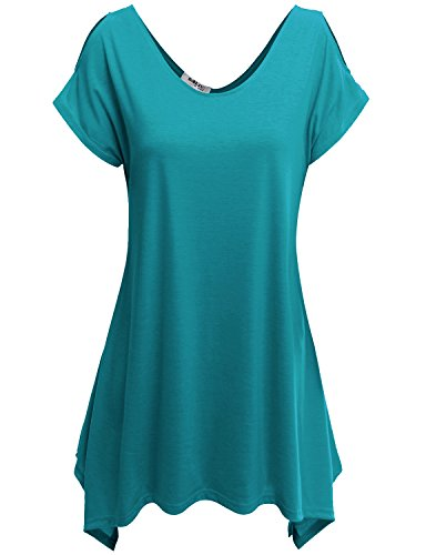 Doublju Basic Cut Out Shoulder Asymmetrical Tunic Top For Women with Plus Size TEAL 2XL