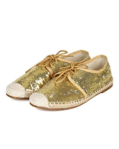 Nature Breeze Women Sequinned Fabric Espadrille Capped Toe Lace Up Flat CA76 - Gold (Size: 7.5) by Nature Breeze (Image #4)