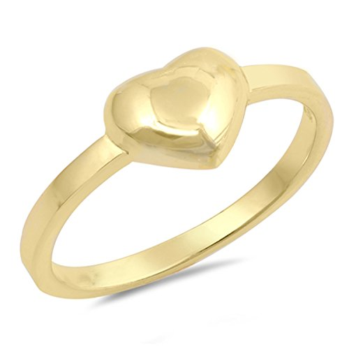 (Sterling Silver Women's Promise Gold-Tone Puffed Heart Ring (Sizes 4-12) (Ring Size 7))