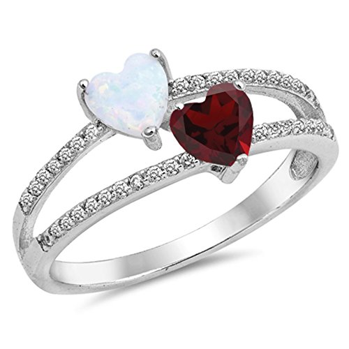 925 Sterling Silver Faceted Natural Genuine Red Ruby Heart Ring Size 6 ()