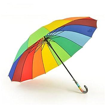 RF Paraguas paraguas mango largo de los colores del arco iris automático de barras rectas en
