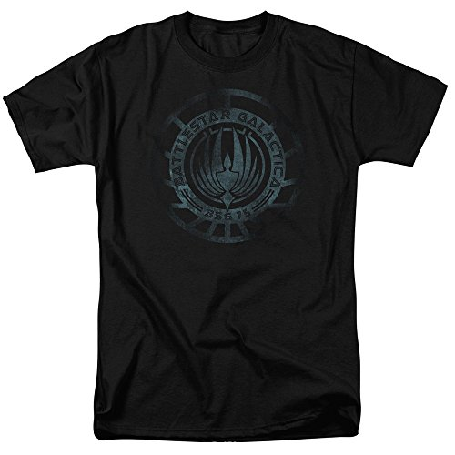 Price comparison product image Battlestar Galactica TV Series Shadowy BSG 75 Emblem Adult T-Shirt Tee