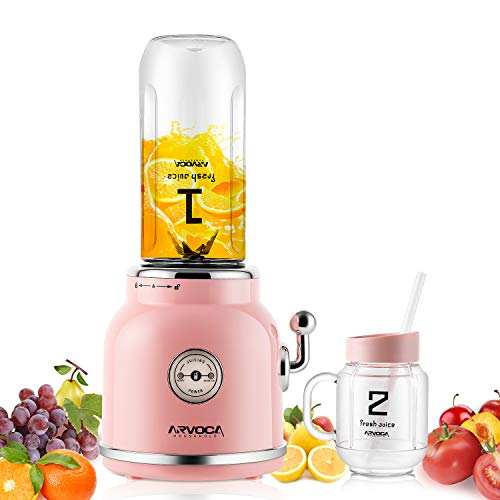 ARVOCA Blender, Smoothie Blender with 2 x 600ml Tritan BPA-Free Cups with Lids, Countertop Blender for shakes and smoothies, Frozen Fruit Vegetables Drinks, FDA Approved - Pink (Yellow Blender)
