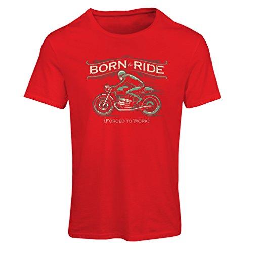 Camiseta mujer Nacido para montar, obligado a trabajar - camisas para los motociclistas, regalos divertidos Rojo Multicolor