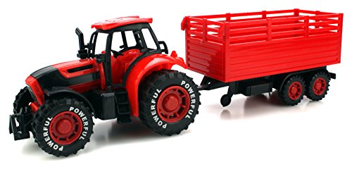Red Farm Tractor - Power Farm Tractor Trailer Children's Kid's Friction Powered Toy Truck Playset (Red)