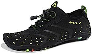 HEETA Water Sports Shoes for Women Men Quick Dry Aqua Socks Swim Barefoot Shoes for Beach Pool Surf Swim Yoga Black_A 45#