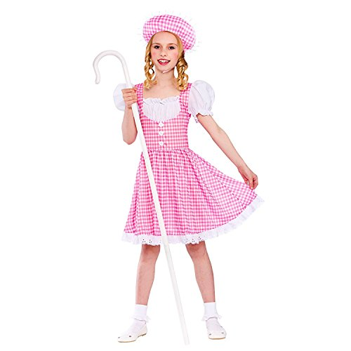 Girls Little Bo Peep Fancy Dress Up Party Costume Halloween Child Pink Outfit (Little Bo Peep Dress)