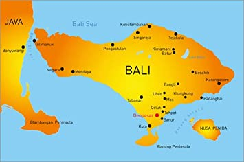 Posterlounge Forex Platte 120 X 80 Cm Bali Landkarte Von
