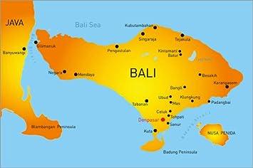 Posterlounge Alu Dibond 120 x 80 cm: Bali - Landkarte von Editors ...