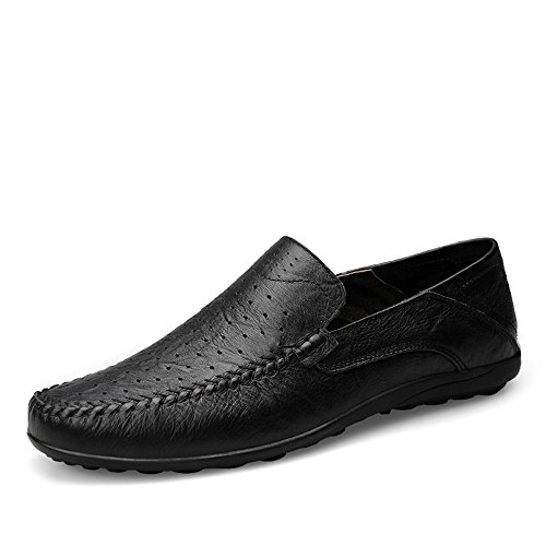 EU Hollow Mocassini Casual Vamp Uomo alla Morbidi Design Dimensione Black da Loafer Driving Moda Slip On 44 di Slipper Color HHgdZrnqw