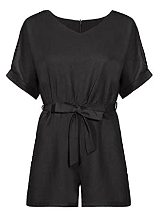 YANDW Short Romper for Women with Belt Chiffon Zip up V-Neck Casual Jumpsuit Summer (Black, S)