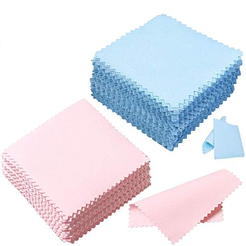 (Jewelry Cleaning Cloth for All Metals Silver and Gold Brass 60 Bulk Large Sterling Silver Polishing Cloth for Silverware Jewelry Platinum Blue Pink )
