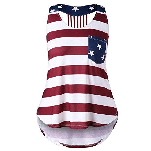 (Yii ouneey Fashion Womens Plus Size American Flag Stars and Stripes Print Sleeveless Casual Tank Tops Summer Cotton T-Shirt Vests Tunics (4XL, Red))