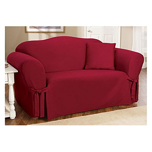 Sure Fit Cotton Duck One Piece Sofa Slipcover, Claret
