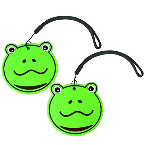 Nido Nest Kids Luggage Name Tags for Children - ID Bag Tag For Airplane Travel, Trips, Backpacks - Fun Gift Ideas For Child - SET OF 2 - Name Tags Frogs Fun