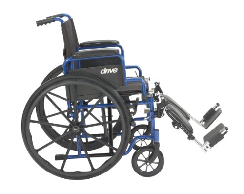 Drive Medical Blue Streak Wheelchair with Flip Back Desk Arms, Elevating Leg Rests, 20'' Seat by Drive Medical (Image #1)