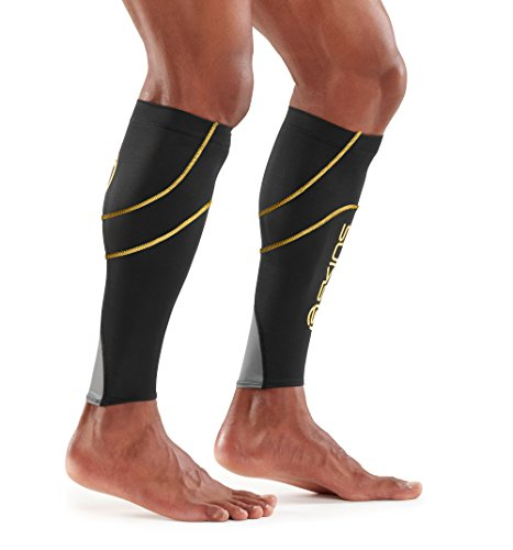 Skins Essentials Compression MX Calf Tights, Black/Yellow, Medium