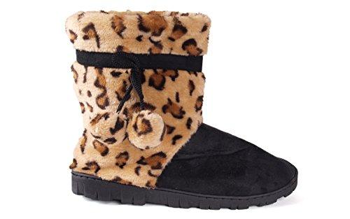 Happy Feet Leopard Og Svart Mikro Boot