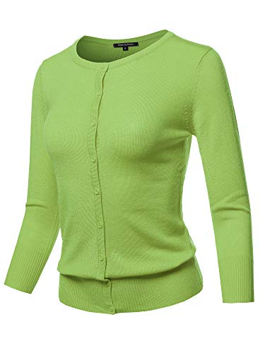 Solid Crew Neck Button Down 3/4 Sleeves Knit Cardigan Apple Green L