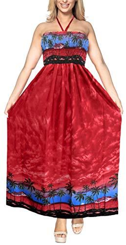 da LEELA Pannello Lungo Esterno Costume g118 LA Maxi Beachwear Abito Superiore Rosso Coprire da Capestro Donne Tubo del Bagno Sera 4wwAq7d