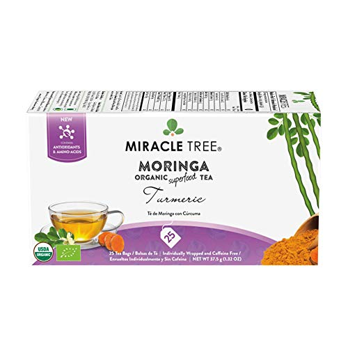 Miracle Tree - Organic Moringa Superfood Tea, 25 Individually Sealed Tea Bags, Turmeric
