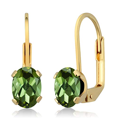 Gem Stone King 1.40 Ct Oval Green Tourmaline 14K Yellow Gold Earrings ()
