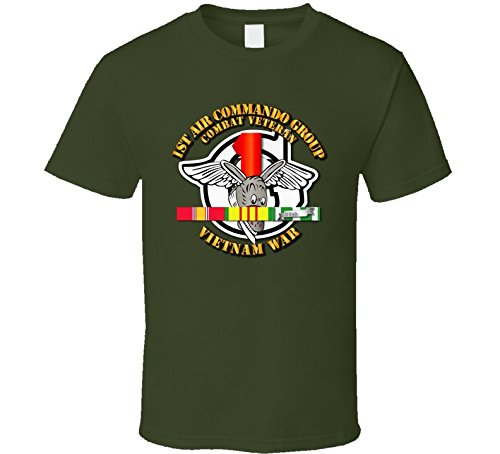 XLARGE - USAF -1st Air Commando Group - Vietnam War w SVC Ribbons T shirt - Military Green
