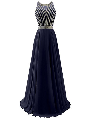 Sarahbridal Long Prom Dresses Chiffon Bridesmaid Wedding Guest Gowns Beaded 2019 for Juniors Navy Blue US6