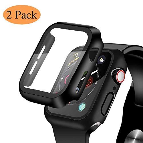 [2 Pack] Compatible for Apple Watch 42mm Series 3/2/1 Tempered Glass Screen Protector with Black Bumper Case, YMHML Full Coverage Easy Installation Bubble-Free Cover for iWatch Accessories