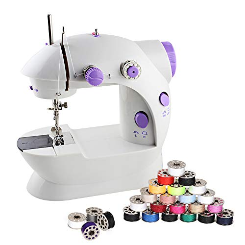LIANTRAL Sewing Kit, Mini Sewing Machine with 25 Pieces Sewing Thread Bobbins Set for Household Travel Beginners